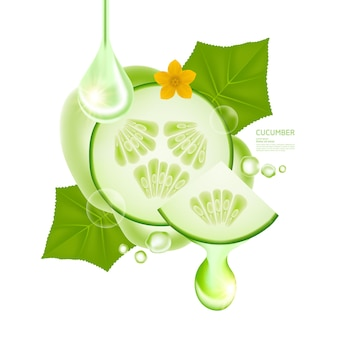 Surowica ogórkowa dla ilustracji wektorowych produktu do pielęgnacji skóry