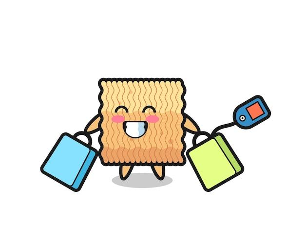Surowy makaron instant kreskówka maskotka trzymając torbę na zakupy, ładny styl projektowania t shirt, naklejki, element logo