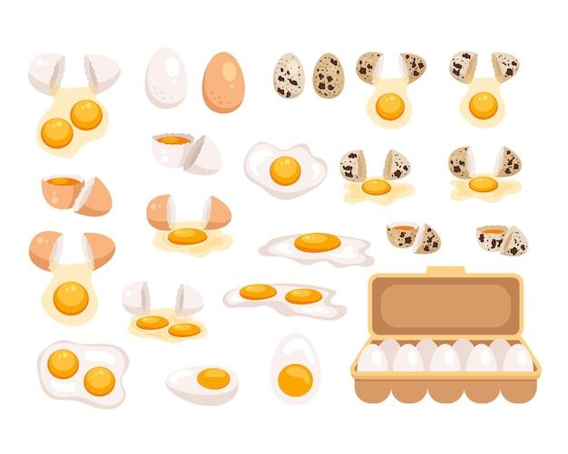 Surowy pokrojony plasterek gotowany smażony świeży omlet jajecznica na białym tle zestaw kolekcji