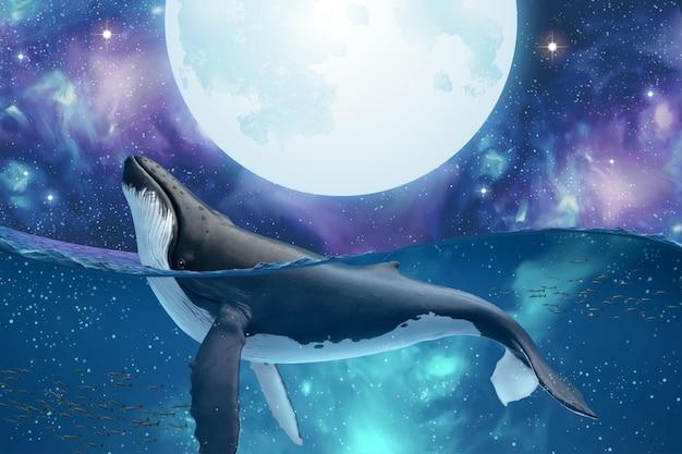 Surrealistyczna scena szpiega humbaka skaczącego, by obejrzeć srebrny super księżyc w tajemniczym kosmosie
