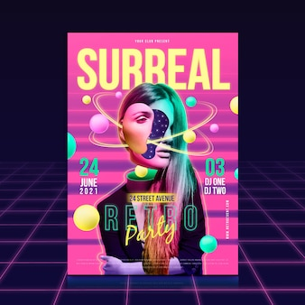 Surrealistyczne party plakat szablon koncepcji