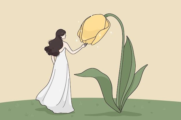 Surrealistyczne spotkanie młodej ładnej kobiety na długiej sukni postać z kreskówki stojącej
