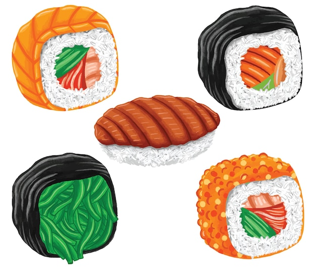 Sushi japońskie jedzenie w stylu płaskiej konstrukcji