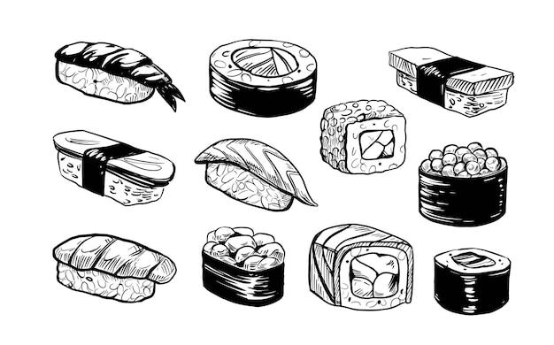 Sushi, japońskie jedzenie, wektor ręcznie rysowane zestaw ilustracja japońskie jedzenie