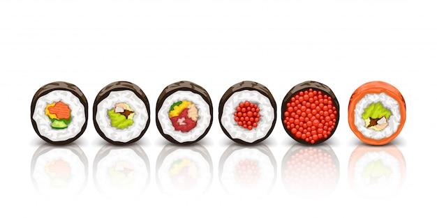 Sushi leżącego na białym tle