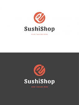 Sushi restauracja godło logo szablon wektor ilustracja.