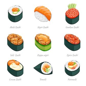 Sushi rolki ikony. jedzenie japońskie menu, ryż i owoce morza, temaki i futomaki
