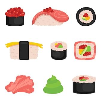 Sushi, rolki ustawione na białym tle