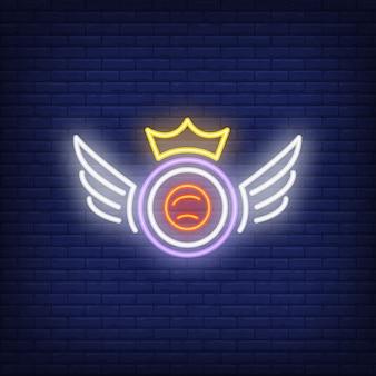 Sushi roll z koroną i skrzydła neon znak