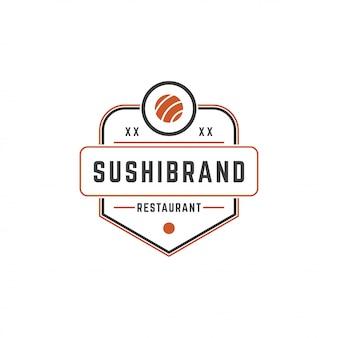 Sushi sklep szablon logo łososia rolki sylwetka z ilustracji wektorowych retro typografii
