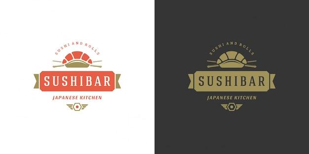 Sushi z logo i odznaką japońskiej restauracji z azjatycką kuchnią sashimi z łososiem