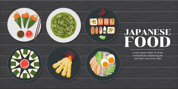 Sushi z łososia temaki, sałatka z wodorostów, onigiri, tempura z krewetek, ramen, kolekcja japońskich owoców morza