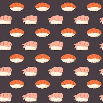 Sushi ze świeżym łososiem, krewetkami ryżowymi i wodorostami nori azjatyckie jedzenie japońska kuchnia chińska