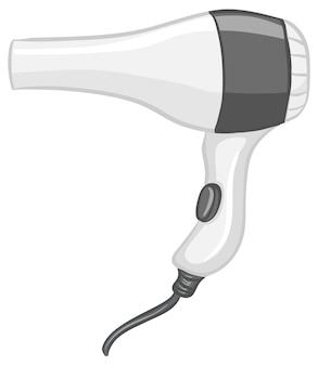 Suszarka do włosów w stylu kreskówki na białym tle