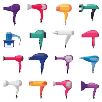 Suszarka do włosów wektor moda suszarka do włosów fryzjera do suszenia dmuchawy i elektrycznej suszarki dmuchawy piękno zestaw fryzjerski urządzenia do stylizacji