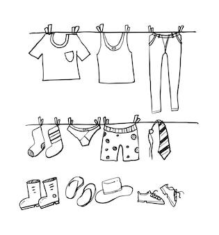 Suszenie szkic ubrań