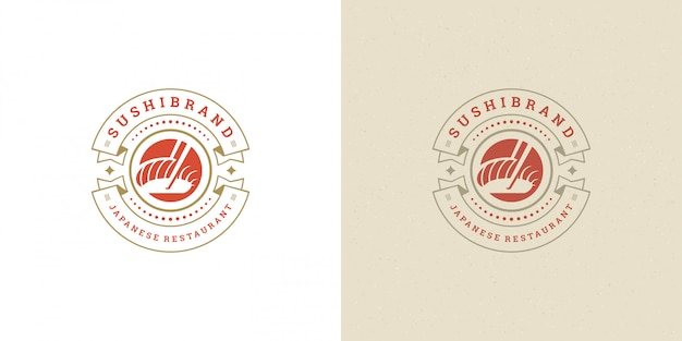 Suszi logo i odznaka japońska karmowa restauracja z łososiowego sashimi azjatykciej kuchennej wektorowej ilustracją