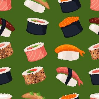Suszi rolek sashimi owoce morza rybi ryżowy bezszwowy wzór