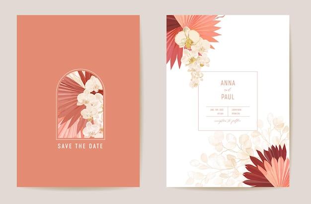 Suszona lunaria ślubna, orchidea, trawa pampasowa kwiatowy zestaw zapisz datę. wektor egzotyczny suchy kwiat, liście palmowe boho zaproszenie. rama szablonu akwarela, okładka liści, nowoczesny plakat, modny design