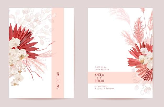 Suszona lunaria ślubna, orchidea, trawa pampasowa kwiatowy zestaw zapisz datę. wektor egzotyczny suchy kwiat, liście palmowe boho zaproszenie. ramka szablonu akwareli, okładka z liści, nowoczesny projekt tła