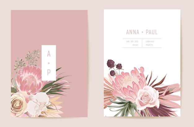 Suszona protea ślubna, orchidea, trawa pampasowa kwiatowy zestaw save the date. wektor egzotyczny suchy kwiat, liście palmowe boho zaproszenie. ramka szablonu akwareli, okładka z liści, nowoczesny projekt tła