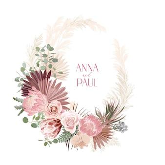 Suszona protea ślubna, orchidea, wieniec kwiatowy z trawy pampasowej. wektor egzotyczne suszone kwiaty, liście palmowe boho zaproszenia. akwarela szablon ramki, ozdoba liści, nowoczesny plakat, modny design