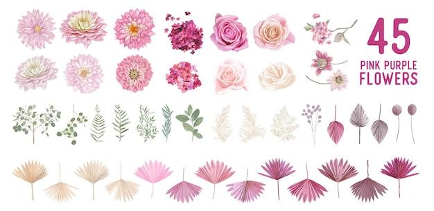 Suszona trawa pampasowa, dalia, kwiaty róży, liście palm tropikalnych wektor bukiety. pastelowy akwarela kwiatowy szablon na białym tle kolekcja na wieniec ślubny, ramki bukietowe, elementy projektu dekoracji