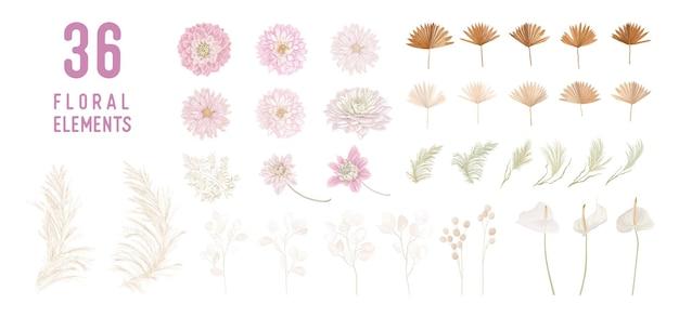 Suszone kwiaty księżyca, dalia, trawa pampasowa, liście palm tropikalnych wektor bukiety. pastelowy akwarela kwiatowy szablon na białym tle kolekcja na wieniec ślubny, ramki bukietowe, elementy projektu dekoracji