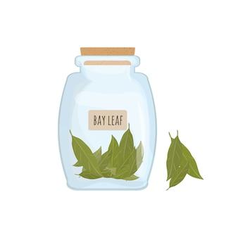 Suszone liście laurowe przechowywane w jasnym słoiku na białym tle.