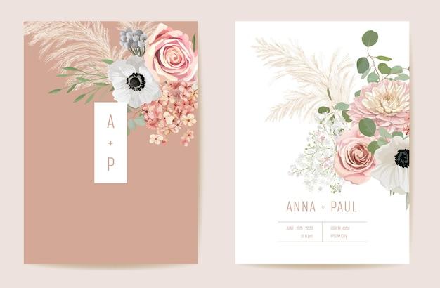 Suszony anemon ślubny, trawa pampasowa, róże kwiatowe zapisz zestaw daty. wektor lato suche kwiaty boho zaproszenie karta. rama szablonu akwarela wiosna, okładka liści, nowoczesny projekt tła
