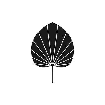 Suszony liść palmowy sylwetka w prostym stylu. godło boho tropikalny liść wektor. ilustracja kwiatowa do tworzenia logo, wzorów, nadruków na koszulkach, projektów tatuaży, postów w mediach społecznościowych i historii