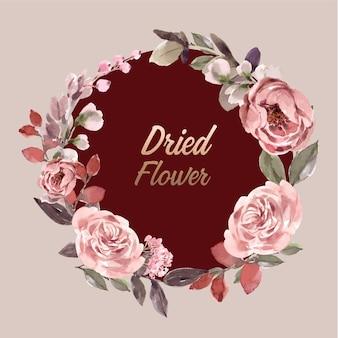Suszony wieniec kwiatowy w stylu przypominającym akwarele