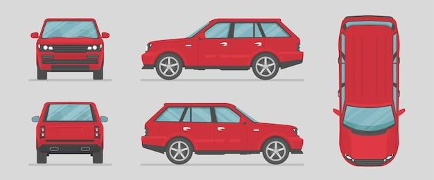 Suv. czerwony samochód z różnych stron. widok z boku, widok z przodu, widok z tyłu, widok z góry. kreskówka samochód w stylu płaski.