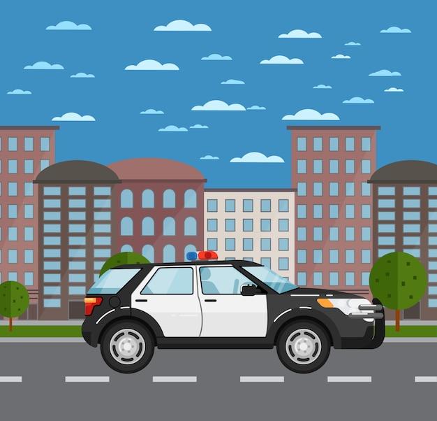 Suv policji na drodze w krajobrazie miejskim