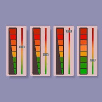Suwak głośności od zielonego do czerwonego ze strzałką i skalą.