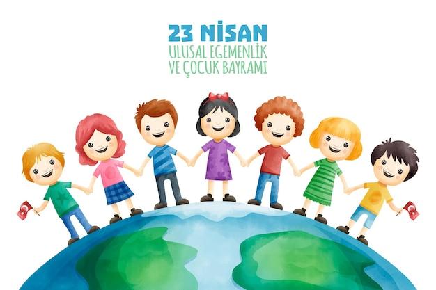 Suwerenność narodowa i dzieci stojące razem
