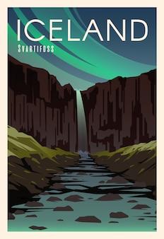 Svartifoss, rzeka. czas na podróż. dookoła świata. plakat jakości. park narodowy skaftafell.