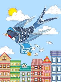 Swallow listonosz lecący przez miasto
