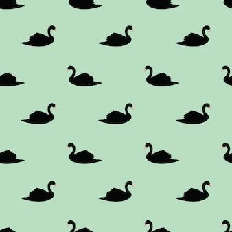Swan wzór na tle mięty