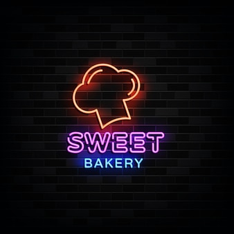 Sweet bakery logo neon signs neon design style