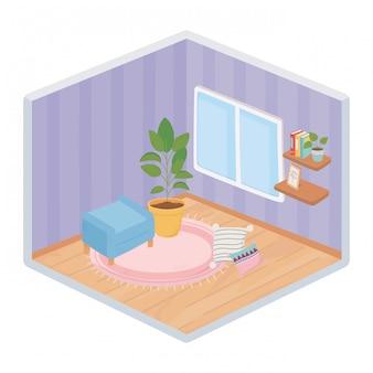 Sweet home krzesło roślina doniczkowa i poduszka na dywanie, półki książki okno izometryczny styl