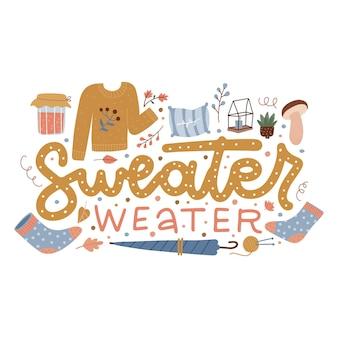 Sweter pogoda ręcznie rysowane napis z uroczymi jesiennymi elementami skarpetki parasol dżem ans grzyb han...