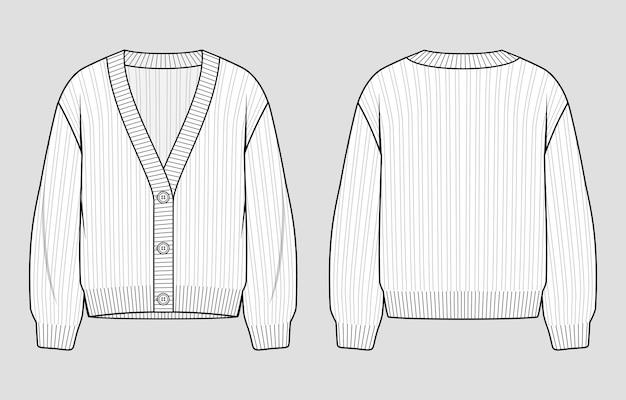Sweter z dzianiny. damski sweter z guzikami i dekoltem w szpic. szkic techniczny wektor. szablon makiety.