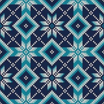 Sweter z dzianiny fair isle style. wzór dziania bez szwu. dziana tekstura