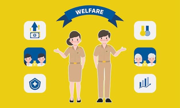 Świadczenia socjalne rządu tajlandii. infografika postać nauczyciela tajskiego siam bangkok.