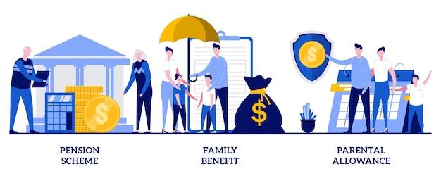 Świadczenie rodzinne, program emerytalny, koncepcja zasiłku rodzicielskiego z małymi ludźmi. zestaw ilustracji streszczenie płatności zabezpieczenia społecznego. wsparcie finansowe na wychowanie dzieci, metafora ubezpieczenia.