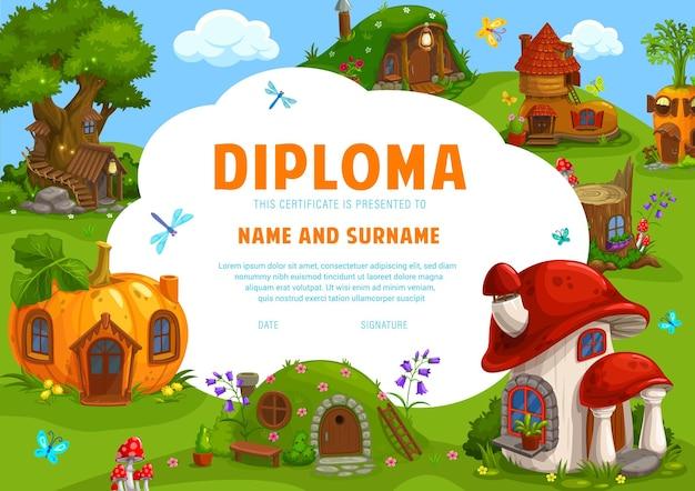 Świadectwo dyplomu dzieci bajkowe krasnale domy ilustracja projekt