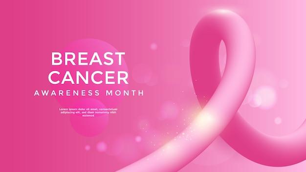 Świadomość raka piersi z różową wstążką 3d. ilustracji wektorowych