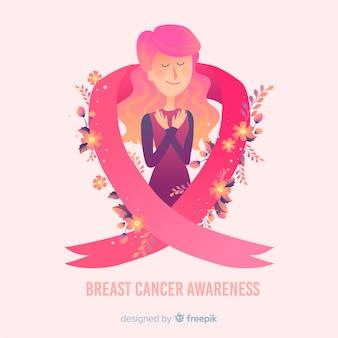 Świadomość raka piersi ze wstążką i ilustracji kobiety