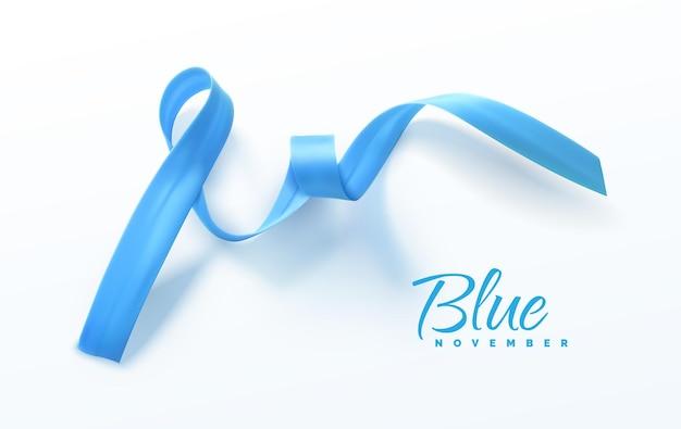 Świadomość raka prostaty niebieska wstążka znak koncepcji opieki zdrowotnej mężczyzn
